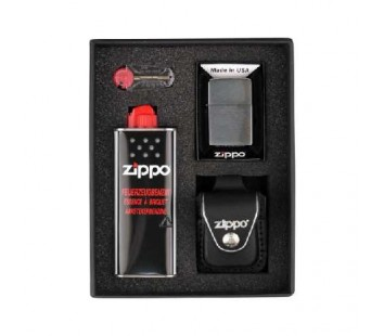 Set Zippo Chrome Brushed (negru)